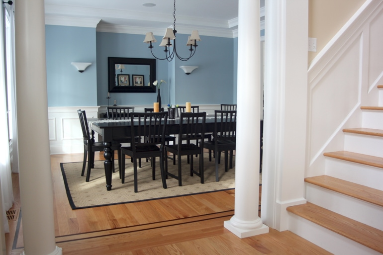 Sand and refinished dining room hardwood floors