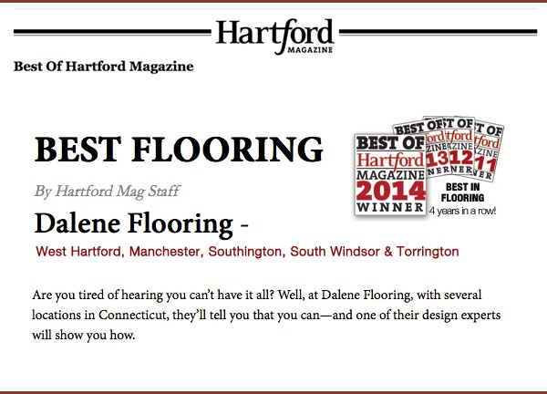Best of Hartford 2014 award for Best in Flooring