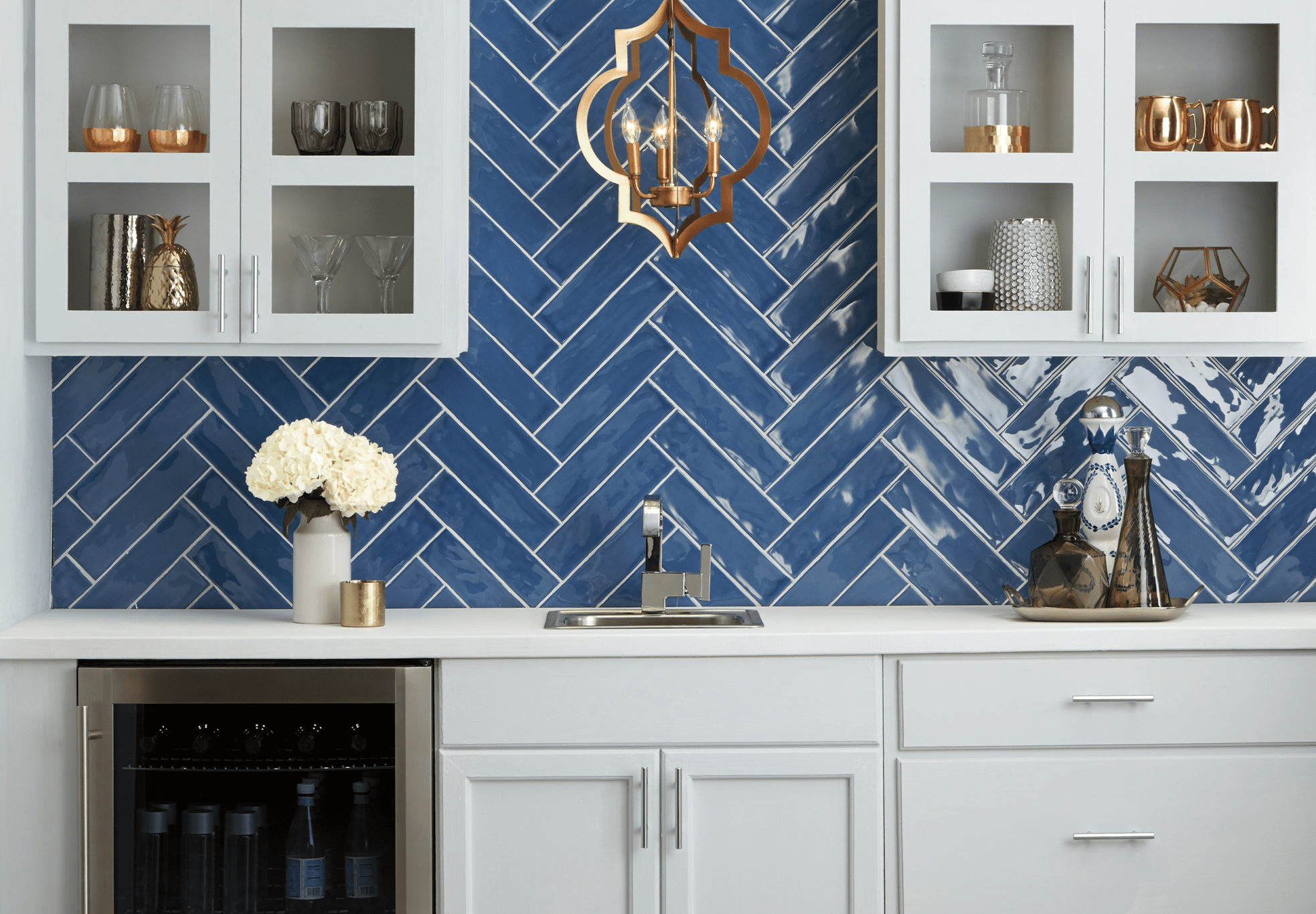 blue backsplash tile